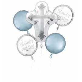 Foil Balloon Bouquet - Blessed Day - 5pk