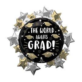 "Foil Balloon - Supershape - ""The World Awaits Grad"" - 30''"