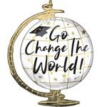 "Foil Balloon  - ""Go Change The World"" - Grad - 23''"