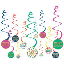Swirl Decor-Happy Bday Dots