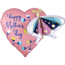 """Foil Balloon - Happy Mother's Day - Butterfly Heart - 26"""""""