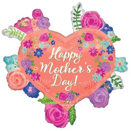 """Foil Balloon - Floral Heart - Happy Mother's Day - 27"""""""