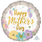 """Foil Balloon - Feathers/Flowers - Happy Mother's Day - 18"""""""