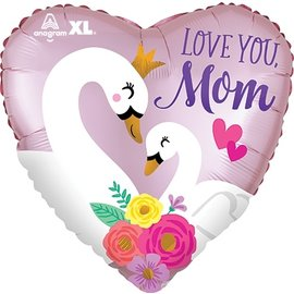 """Foil Balloon - Love You Mom - Swans - 18"""""""