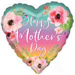 """Foil Balloon - Flowers & Ombre - Happy Mother's Day - 18"""""""