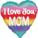 "Foil Balloon - I love you Mom  - 18"""