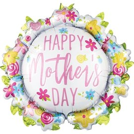 """Foil Balloon  - Wreath - Happy Mother's Day - 30"""""""