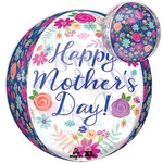"""Foil Balloon - Orbz - Beautiful Flowers - Happy Mother's Day - 15"""""""