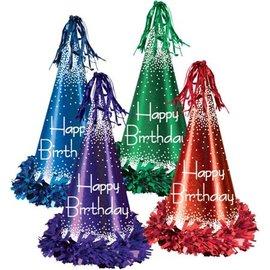 Cone Hat - Happy B-Day - Foil Multicolor - 1pc