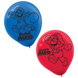 Latex Balloons - Super Mario - 6pk