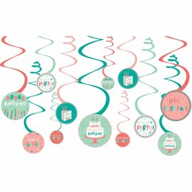 Swirls Decorations - Happy Cake Day - 12pc