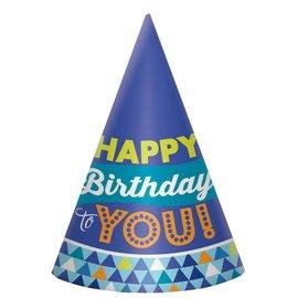 Hats - Cone - True Blue Birthday - 8 pk