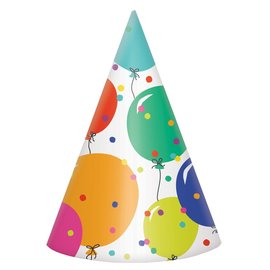 Hats - Cone - Party Balloons - 8 pk