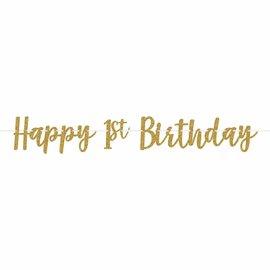 Banner - 1st Birthday - Gold