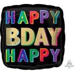 "Foil Balloon - Rainbow HBD - 17"""