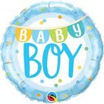 "Foil Balloon - Baby Boy Banners & Dots- 18"""