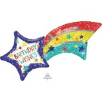"""Foil Balloon  -  Super shape - Birthday Wishes Shooting Star - 27"""""""
