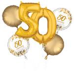Foil Balloon Bouquet - 50th Anniversary - 6 PK