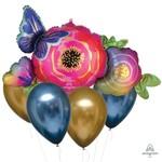 Foil Balloon Bouquet with Chrome - Flower Butterfly - 5 pk