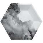 Plates - Black  - Hexagon - 8 pk