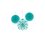 Hanging Decorations-Paper Fan-Teal Lagoon Dots-12''~16''-3pk