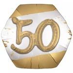 "Foil Balloon - 50th - Golden Age - 3D - 30"""