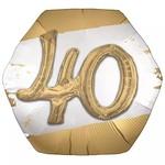 "Foil Balloon - 40th - Golden Age - 3D - 30"""