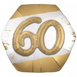 "Foil Balloon - 60th - Golden Age - 3D - 30"""
