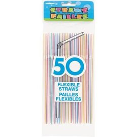 Plastic Flexible Straws- Assorted Colours- 50pk/8""