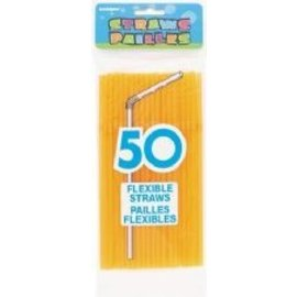 Plastic Flexible Straws- Neon Orange- 50pk/8""
