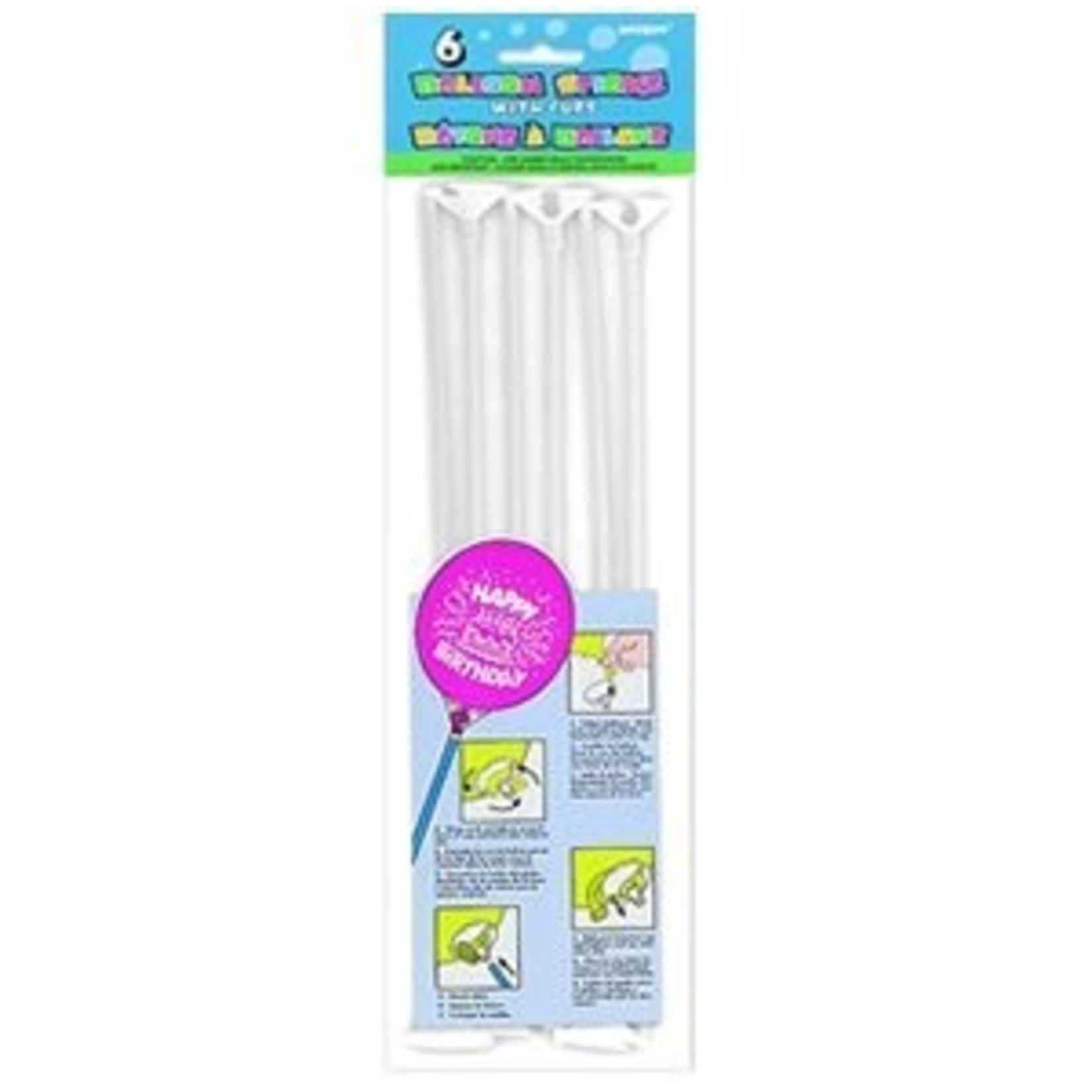 Balloon Sticks-with Cups-6PK
