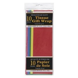 """Tissue Gift Wrap- Assorted Colors- 10 Sheets (20""""x26"""" Each)"""