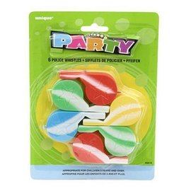 """Party Favors- Police Whistles- 6pcs/2.25"""""""