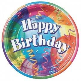 Plates-LN-Brillant Happy Birthday-8pkg-Paper - Discontinued