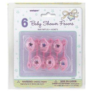Baby Rattles-Pink-Plastic-2.5''-6pk