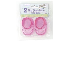 Baby Boots-Mini-Pink-Baby Shower-2pk-Plastic