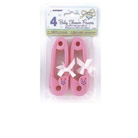 Safety Pins-Baby Shower-Pink-Plastic-4.5''-4pk