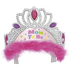 Tiara-Baby Shower-Mom To Be-Pink-w/ Feather-Plastic