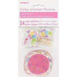 Cupcake Kit-Baby Shower-Pink-24pk