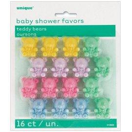 Teddy Bears-Mini-Baby Shower-Multi Color-16pk