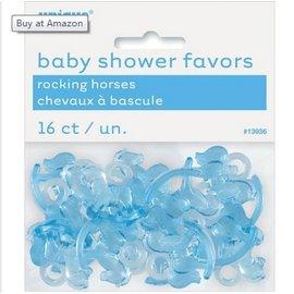 Rocking Horses-Mini-Baby Favors-Blue-Plastic-16pk