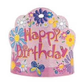 Hats-Tiara-HBD-Flowers & Butterflies-Paper-8pk