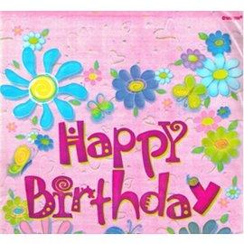 "Loot Bags- Flower Happy Birthday- 8pk (7.25""x9"")"