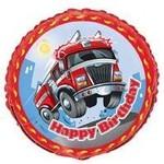 Foil Balloon - Birthday Fire Engine - 18''