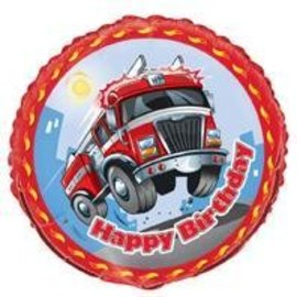 Foil Balloon - Birthday Fire Engine - 18''