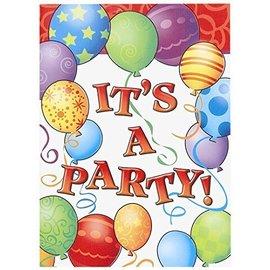 Invitations-Birthday Balloons-8pkg