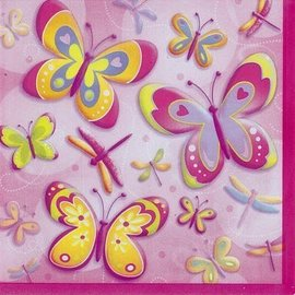 Beverage Napkins- Butterflies & Dragonflies- 16pk/2ply - Discontinued