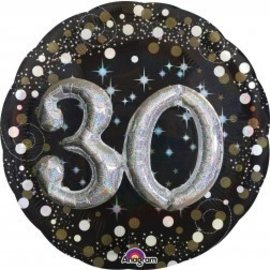 Foil Balloon-3D Supershape-30th Birthday-Black and Gold