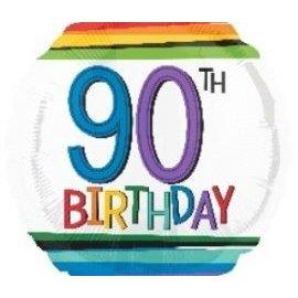 Foil Balloon-90th Birthday Rainbow