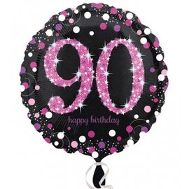 Foil Balloon - Pink 90th Birthday Sparkle - 18""